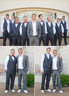 Gray groomsman suits with mismatched bowties and white tennis shoes @weddingchicks