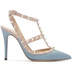 Valentino Blue and Pink Rockstud Cage Heels (€910) ❤ liked on Polyvore featuring shoes, pumps, heels, pink pumps, valentino pumps, blue shoes, slingback pumps i pink pointed toe pumps