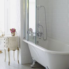 Bath | Burlington Hampton Shower Bath 150 x 75cm LH Freestanding - White