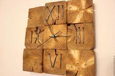 Купить настенные часы из дерева - комбинированный, сосна, спил, гвозди, часы, часы настенные