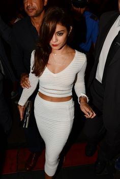 white crop top and pencil skirt - Vanessa Hudgens