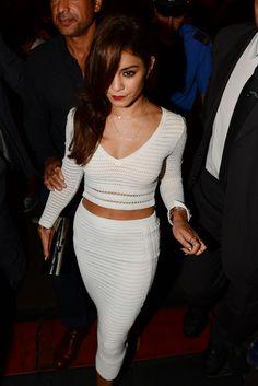white crop top and pencil skirt - Vanessa Hudgens