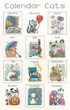 Calendar Cats - Cross Stitch Pattern