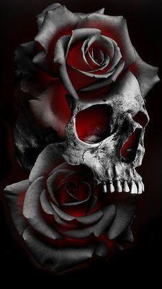 Wallpaper Desenho Caveira New Ideas Skull Rose Tattoos, Black Tattoos, Body Art Tattoos, Dark Roses Tattoo, Skull Sleeve Tattoos, Skull Tattoo Design, Skull Design, Tattoo Designs, Rose Drawing Tattoo