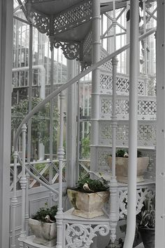 White metal stairs