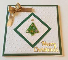 Simple Handmade Christmas card Sizzlits Tree die Darcie Dot embossing folder Sizzix square die cut. 2015