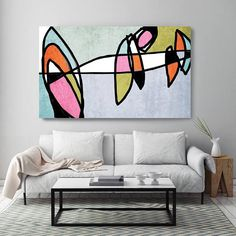 Vibrant Colorful Abstract-0-20. Mid-Century Modern Gray Pink Canvas Art Print, Mid Century Modern Canvas Art Print up to 72 by Irena Orlov Wall Art Decor for Home, Office or Hotel MIDCENTURY ABSTRACT ART With retro colors and free formed geometric shapes, all of this pieces in my