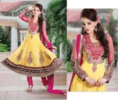 Yellow Georgette Salwar Kameez With Santoon Inner and Bottom @ 6200INR