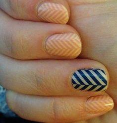 Just Peachy and Slatted Herringbone Jamberry wraps #manicure #nails #nailart #navy #orange