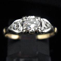 c.1930s Art Deco Old European Cut Diamond 14k Gold Engagement