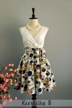 My Lady II Spring Summer Sundress White Top White Floral Navy Dot Skirt Party Tea Dress Floral Dot Bridesmaid Dresses Summer Dress XS-XL