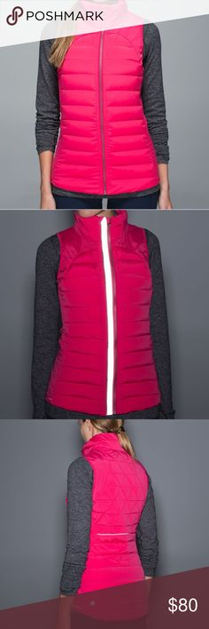 """Lululemon Fluffed Up Down Vest Lululemon Fluffed Up down filled vest in hot pink """"boom juice"""" color. Excellent condition! Very warm - great for outside winter runs or hikes. Not too bulky either so great for layering! RETAIL 