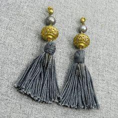 Grey Tassel Earrings - Boho Earrings Gray Tassels - Tassel Jewelry - Bohemian Earrings With Tassels - Ethnic Jewelry