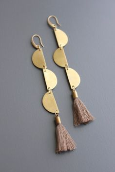 gold plated brass hook earrings with brass and taupe cotton tassels. Brass Jewelry, Ear Jewelry, Hippie Jewelry, Jewelry Armoire, Cute Jewelry, Modern Jewelry, Beaded Jewelry, Jewelery, Jewelry Box