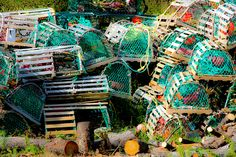 A pile of lobster traps waiting for the season to begin again. Photo taken in Newfoundland. Newfoundland Canada, Newfoundland And Labrador, Lobster Trap, Atlantic Canada, Canada Eh, New Brunswick, Salt And Water, My Land, Great Lakes
