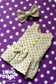 Dress for Blythe White with polka dots CottonLinen by StingPink, $15.00