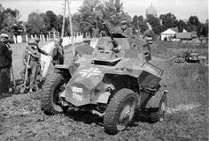 Looks like a Hungarian armored car called Csaba (Chaa-baa) is about to scramble out of a ditch back onto the road with the help of local men. Army Vehicles, Armored Vehicles, Armored Car, Nazi Propaganda, Armored Fighting Vehicle, Ww2 Tanks, Military Photos, German Army, Panzer