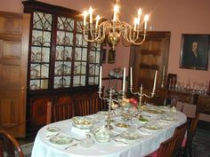Back in the day, the family would spend about 9 hours in this room (each meal lasted 3 hours) Georgian, Colonial, Toronto, Table Settings, Chandelier, Ceiling Lights, Room, House, Home Decor