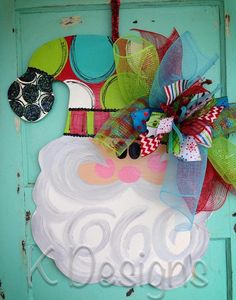 Swirly Personalized Santa Christmas door decor by paintchic, $50.00