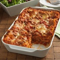 Cheesy Beef Lasagna: Hearty lasagna recipe with a ground beef meat sauce and three cheeses layered with uncooked lasagna noodles to save some work. Kraft® is a registered trademark of Kraft Foods, Inc. Easy Pasta Recipes, Kraft Recipes, Cooking Recipes, Kraft Foods, Lasagna Recipes, Shrimp Recipes, Chicken Recipes, Vegetarian Recipes, Ravioli