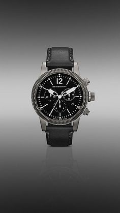 42mm Antique Silver-Plated Chronograph with Leather Strap   Burberry