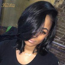 Perruques courtes 7A Droite Péruvienne Vierge Cheveux Sans Colle Full Lace Péruvienne Avant de Lacet de Cheveux humains Pour Les Femmes Noires Naturel Noir perruques()