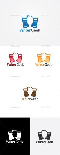 Writer Geek Logo Design Template Vector #logotype Download it here: http://graphicriver.net/item/writer-geek-logo/9209886?s_rank=724?ref=nexion