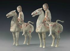 A pair of painted grey pottery figures of horses and riders, China, Han Dynasty BC-AD - Alain. Chinoiserie, The Han Dynasty, Horse Sculpture, China Art, Chinese Ceramics, Ancient China, Antique China, Chinese Painting, Popular Culture