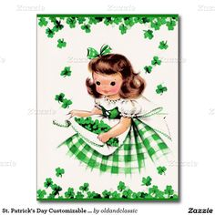Happy St. Patrick's Day Customizable Postcards with a vintage Little Irish Girl image. Matching cards, postage stamps and other products available in the Holidays / St. Patrick's Day Category of the oldandclassic store at zazzle.com
