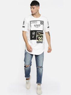 Buy Moda Rapido Men White Printed Round Neck Longline T Shirt - Tshirts for Men 4331715 | Myntra