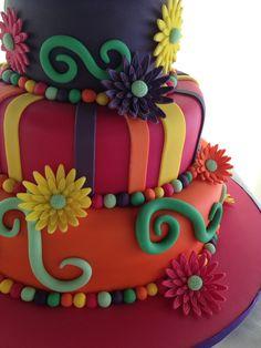 Colourful wedding cake