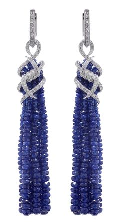 Stephen Webster 18-carat White Gold Forget Me Knot Tassel Earrings with Sapphires and White Diamonds.