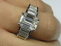 A Perfect 3CT Carat Emerald Cut Russian Lab Diamond with Baguettes Promise Engagement Wedding Anniversary Ring