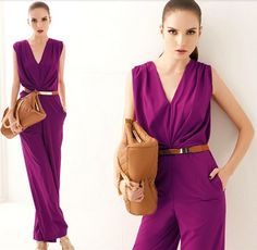 Fashion Sexy Elegant Office Lady Work wear deep V neck Plunge Loose jumpsuit Rompers Playsuit Sleeveless rompers womens jumpsuit Rompers Women, Jumpsuits For Women, Purple Jumpsuits, Fashion Jumpsuits, Dress Code, Casual Jumpsuit, Elegant Jumpsuit, Jumpsuit 2014, Overalls Women
