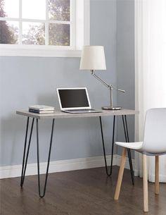 Dorel Home Furnishings Owen Retro Desk with Metal Legs Multiple Colors, Black