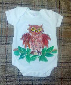 Infant Owl handpainted Onesie Bodysuit by DeborahWillardDesign