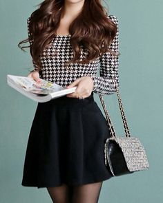 Cute Scoop Neck Long Sleeve Houndstooth Ruffle Dress For Women