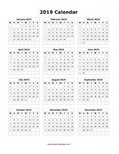 download blank 2019 calendar templates