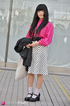 SARIKA KARISAWA Shibuya, Tokyo AUTUMN 2012, GIRLS Kjeld Duits STUDENT, 18  Coat – N/A Blouse – N/A Skirt – N/A Necklace – N/A Shoes – Bodyline