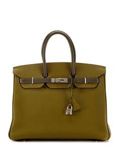 Horseshoe Bi-color Chartruese and Olive Birkin Bag by Hermès