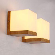 Loft industriel en bois massif et verre Cube sucre conduit lampe de mur chambre allée lumière(China (Mainland))