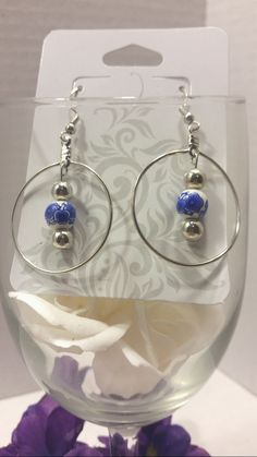 Japanese style, blue floral glass bead, dangle earrings