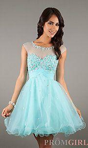 Buy Short High Neck Cap Sleeve Babydoll Dress at PromGirl
