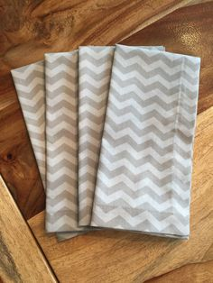 Grey on grey Chevron cloth Napkins- grey tonal-gray chevron Set of 2 or 4 by ScarlettPines on Etsy