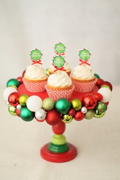 DIY Ornament Cake Stand  What a cute idea - too bad we now have to wait another 12 months!