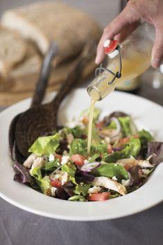Salade met kip, watermeloen, feta en een dressing van Rochefort