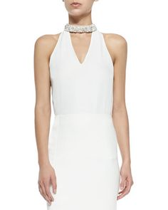 Sleeveless V-Neck Blouse with Embellished Collar at CUSP.