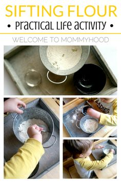 Montessori inspired: practical life and fine motor activity - sifting flour for developing hand muscles by Welcome to Mommyhood #practicallife, #montessor, #Preschoolactivities,