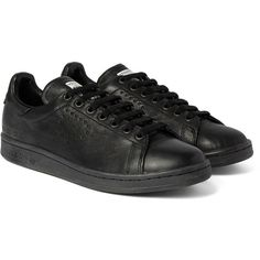 Raf Simons + adidas Stan Smith Distressed Leather Sneakers (3,800 EGP) via Polyvore featuring mens, men's shoes, men's sneakers and black