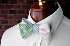 High Cotton Ties | Seersucker Four Way Bow Tie